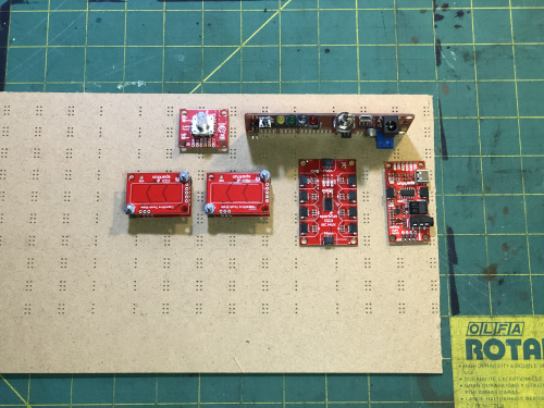 Arranging the Qwiic Breakout Boards and RedBoard Edge on the Underside of the Panel
