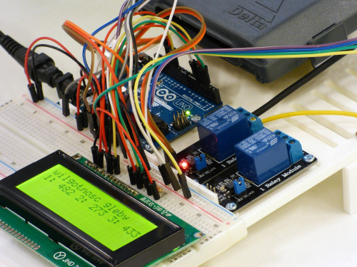 Proof of concept prototype with breadboard, LED, relays, Arduino Uno, and wires