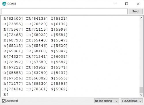 Screen shot of MAX30101 readings