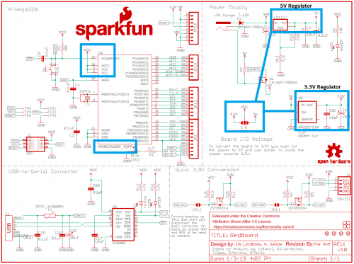 RedBoard (Qwiic) schematic with IO jumper highlighted
