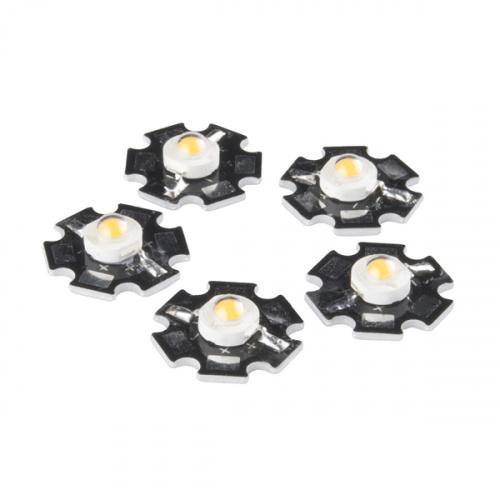 LED - 3W Aluminum PCB (5 Pack, Warm White)