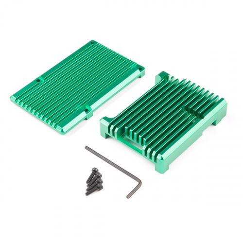 Aluminum Heatsink Case for Raspberry Pi 4 - Emerald Green