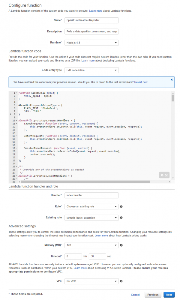 Configure function page