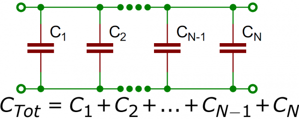 Capacitors in parallel schematic/equation