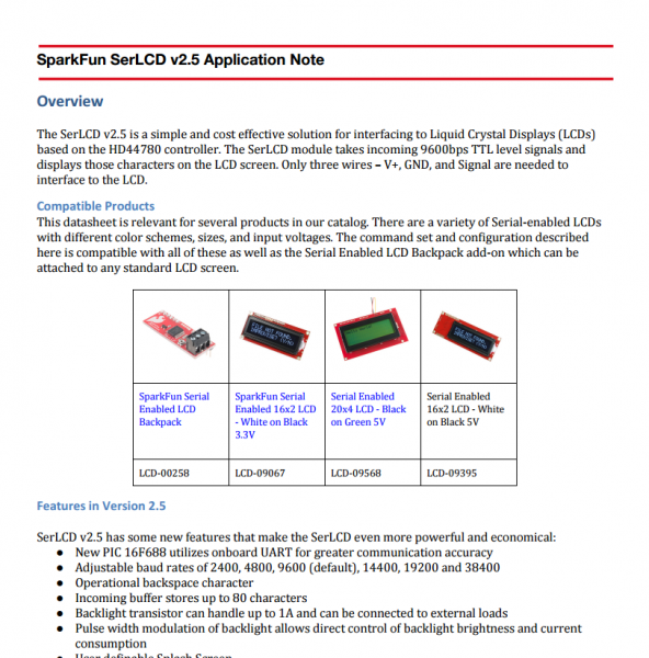 Screenshot of SerLCD v2.5 Application Note