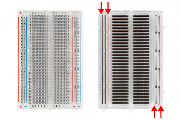 Front and back, medium breadboard with power rails exposed