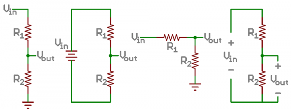 several ways of representing a voltage divider circuit