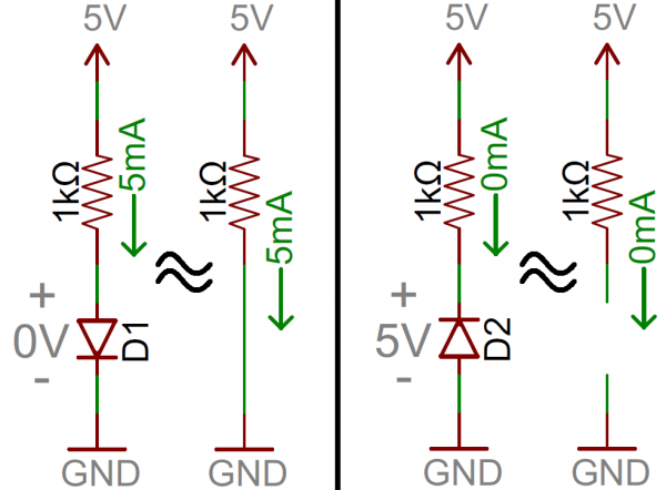 Examples of ideal diodes in circuits