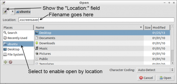 Leafpad open file dialog