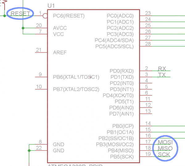 ATmega328 SPI pins named/labeled