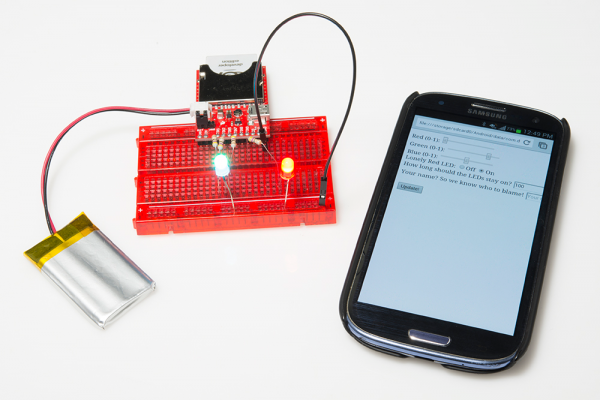 Example 2 circuit. A phone browser controlling the LED.