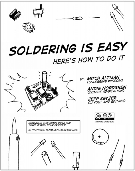 The first slide in the soldering comic.