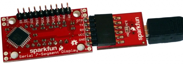 Right-angle headers soldered into programming header