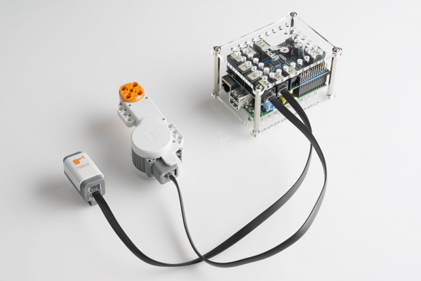 Sensor and motor connected to the BrickPi