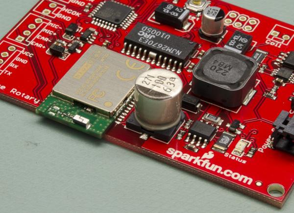 A reflowed PCB