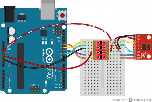 SPI ADXL345 to Arduino via BD-LLC