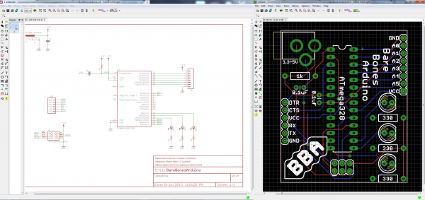 Schematic and board from Using EAGLE tutorials