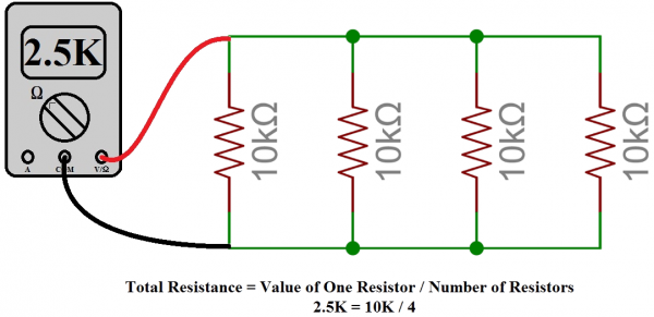 Four 10kΩ Resistors in parallel can be used to create a 2.5kΩ one!