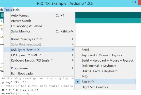RawHID Menu in Arduino