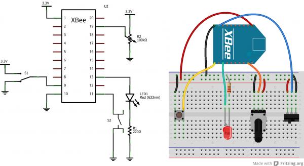XBee Cloud Breadboard Diagram