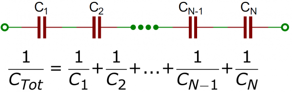 Capacitors in series schematic/equation