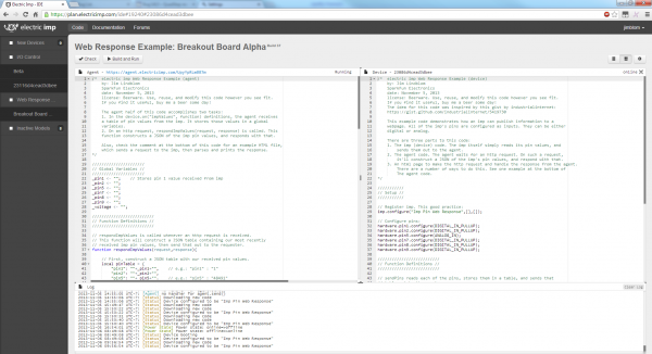 A screenshot of the imp IDE