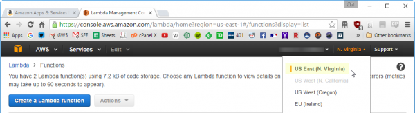 Selecting the region