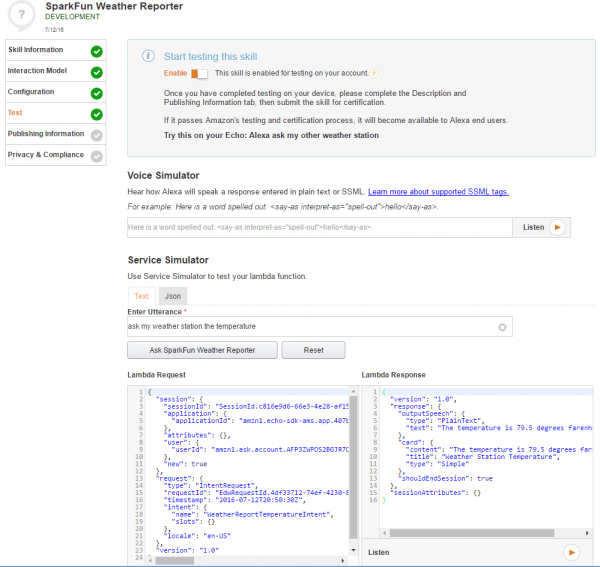 Testing the Weather Reporter skill with an example utterance