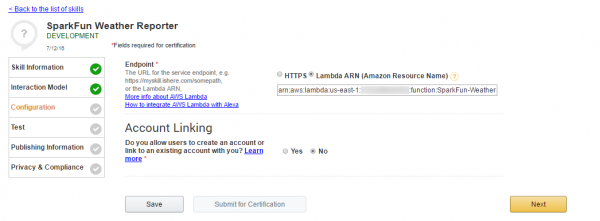 Pointing the Alexa Skill to your Lambda function