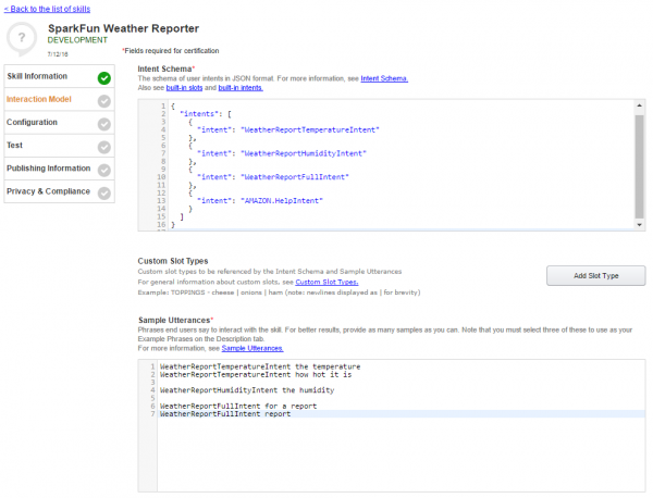 Configuring the skill's interaction model