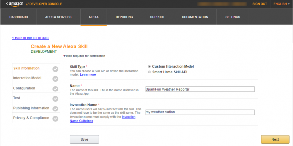 Entering the skill's information