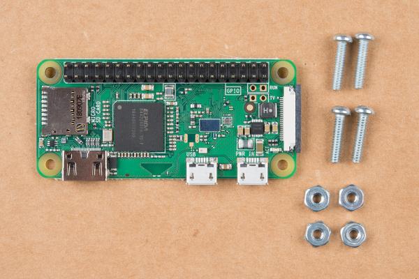 Raspberry Pi Zero with Screws and 4-40 Nuts