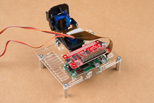 Servo pHAT plugged into Raspberry Pi Zero GPIO header