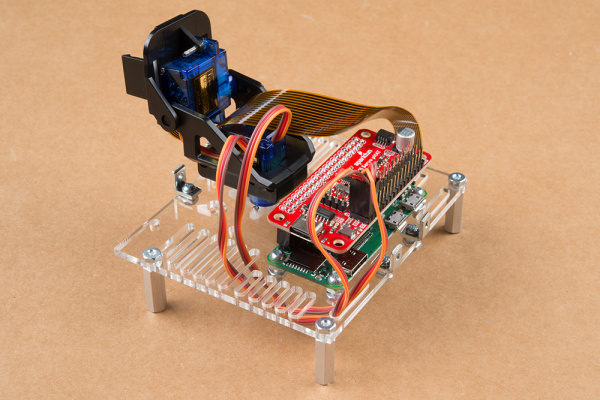 Servo cables from pan-tilt mechanism plugged in