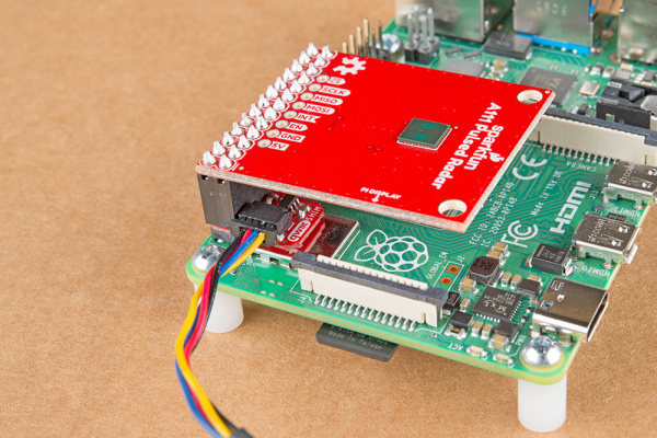 The Qwiic SHIM on a Pi 4 with the SparkFun Pulsed Radar Breakout.