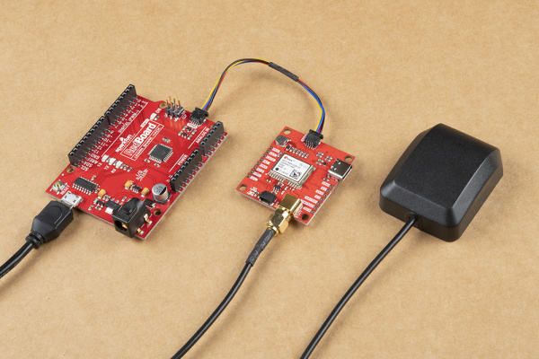 GPS with External Antenna Connected to RedBoard Qwiic