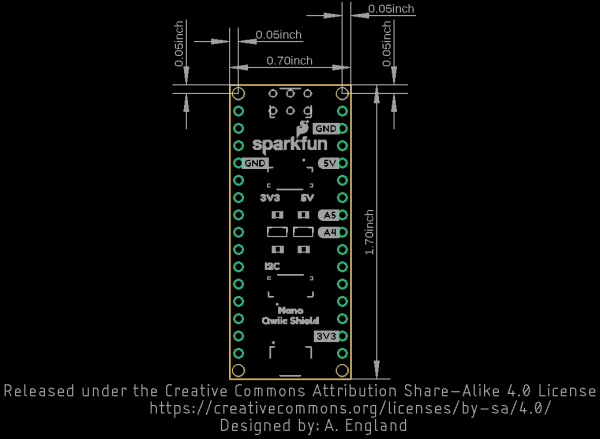 Dimensional Drawing for Qwiic Shield for Arduino Nano
