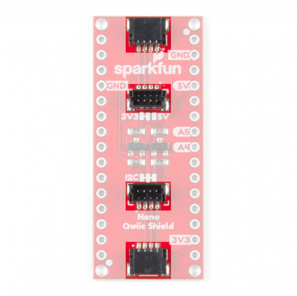 Image highlighting Qwiic Connectors on Qwiic Shield for Arduino Nano.