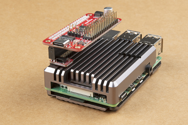 Extension Header with 9.80mm Pin Length is Used to Help Stack the Qwiic SHIM and Servo pHAT on a Pi 4 with Heat Sink