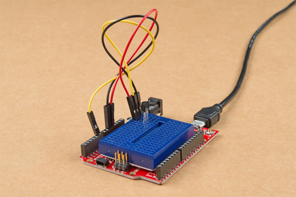 RedBoard Qwiic and TMP36 Connected
