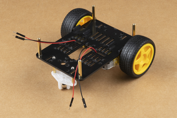 Wheels and caster ball assembled and attached to chassis