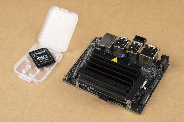 MicroSD card inserted into Jetson Nano