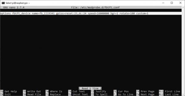 Configuration for fbtft Module