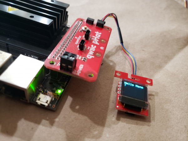 The OLED displaying text