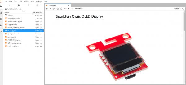 Screenshot of SparkFun Qwiic OLED Notebook