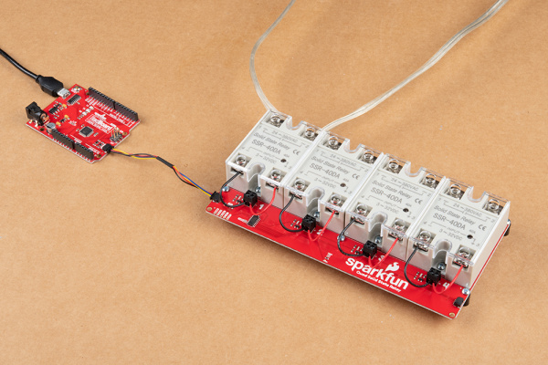 Quad SSR Kit with all four relays connected to a SparkFun RedBoard