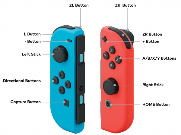 Buttons of the Nintendo Switch Labelled
