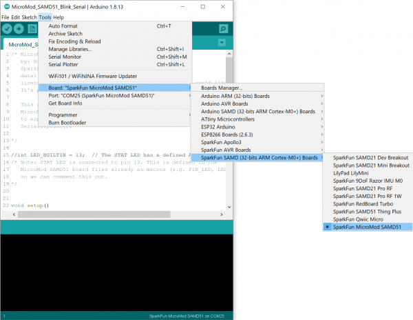 Board and COM Port Selection in the Arduino IDE