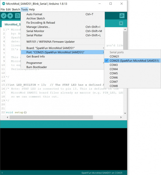 Arduino IDE COM Port Selection