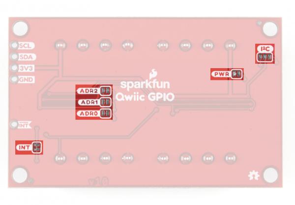 Photo highglighting Qwiic GPIO solder jumpers.